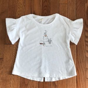 Zara Girls White short sleeve ruffle top size 6